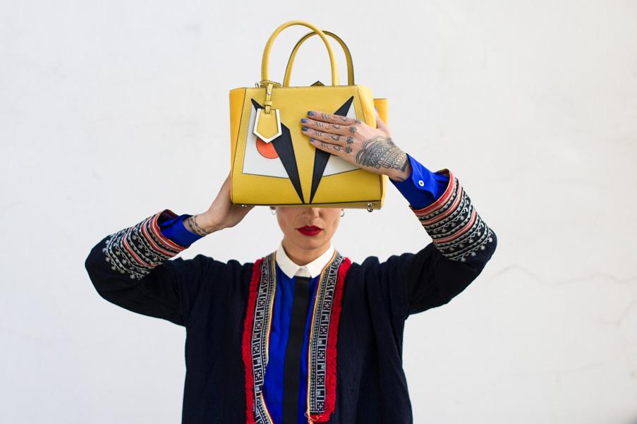 helena narra, makeup artist, yellow fendi bag, fendi monster, kimono, berlin street style