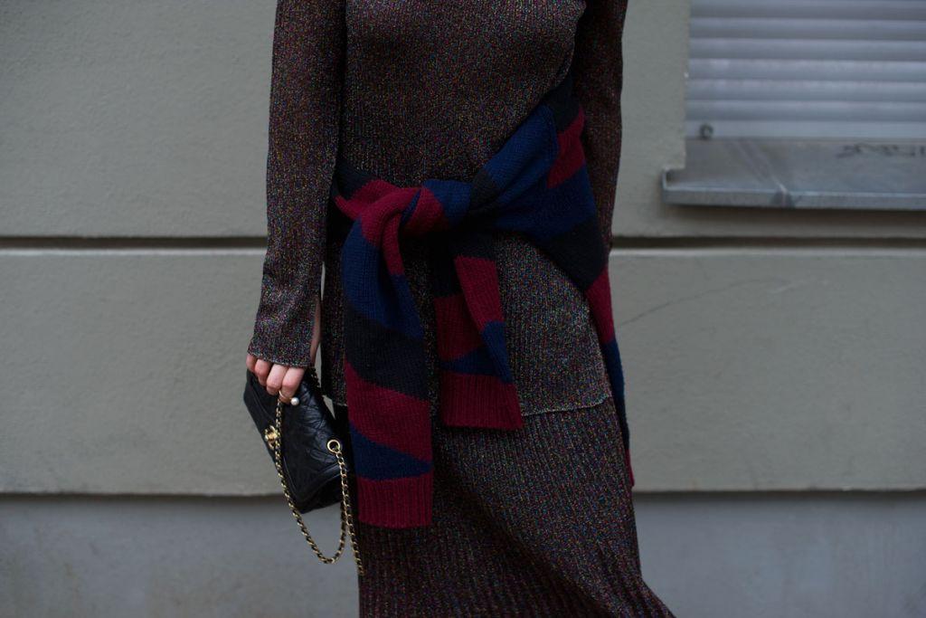 metallic, pleated skirt