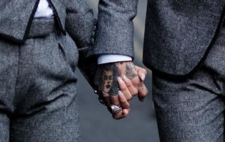 gray suit, tattoos, tattoo