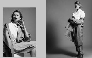 Shona, wide trousers, blouse, classic elegant, trenchcoat, highheels, minimalist