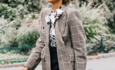 weite Hose, wide trousers, karierter Blazer, plaid jacket, office style, office look, dotted blouse, gepunktete Bluse