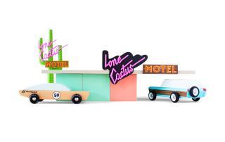 toys, motel, car, pastel colors, cactus, pink letters