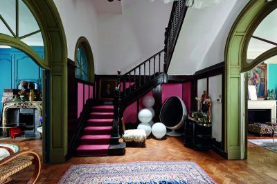 pink carpet, wooden stairway, persian carpet, vintage carpet, parquet, green door arch, white balls, vintage, old painting, white armchair
