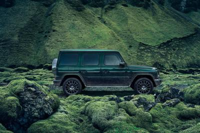 all-round car, green car, all green, landscape, forest, tone in tone