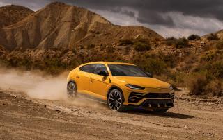 yellow car, sport car, fast car, desert, tone in tone