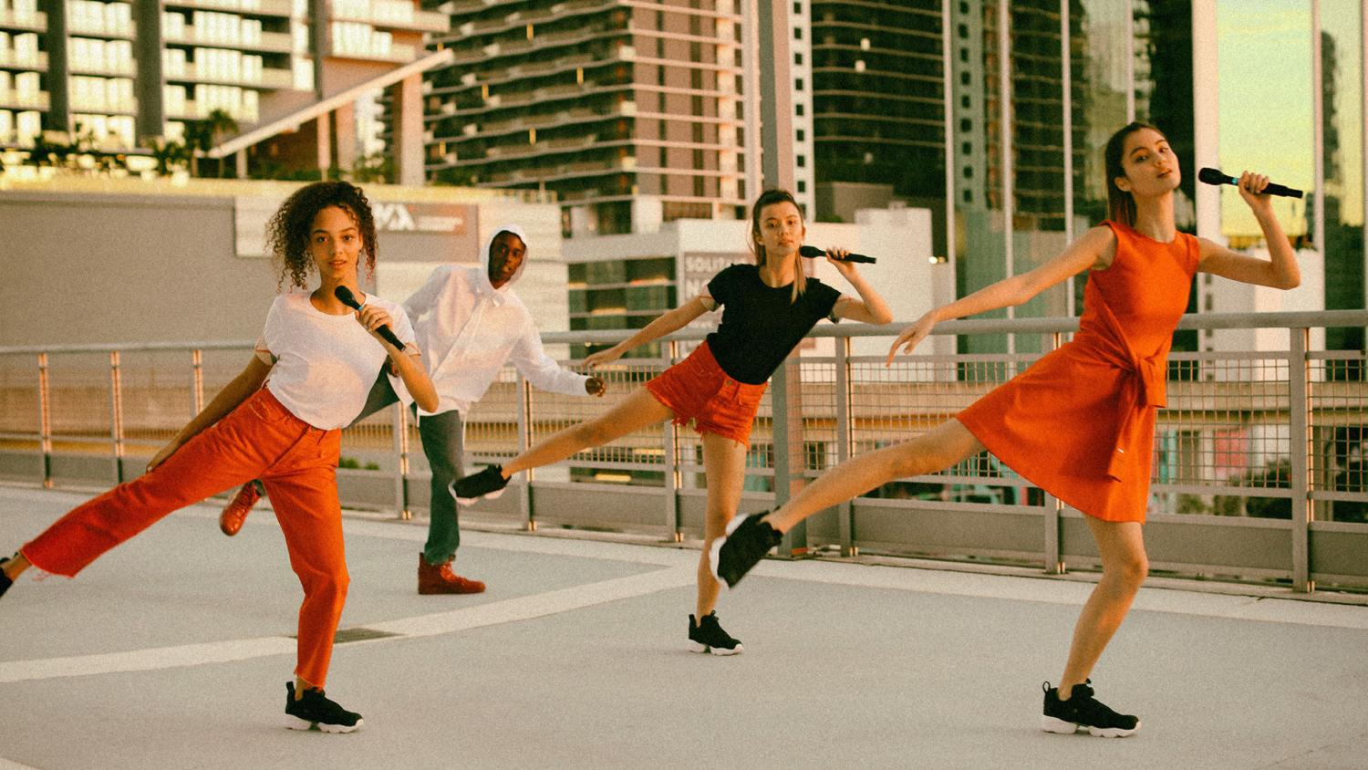 red, black white, red dress, black sneaker, red sweatpants, red trousers, black tee, white tee