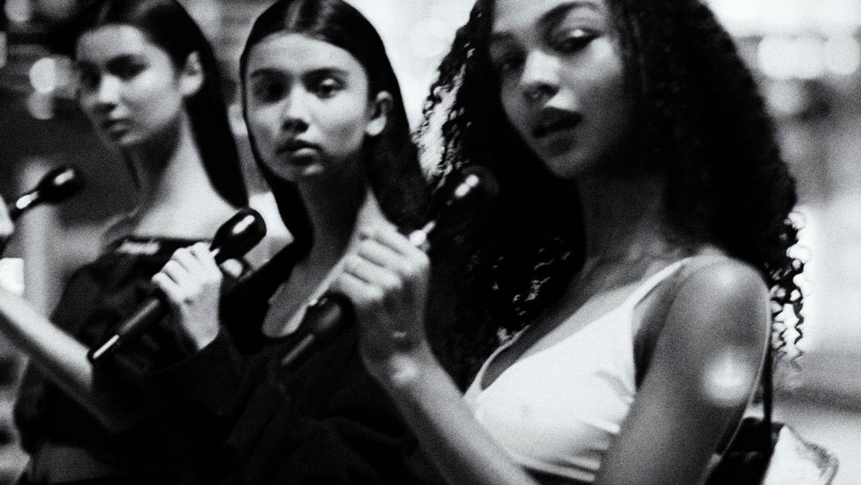 black, white, white top, black top, black microphone