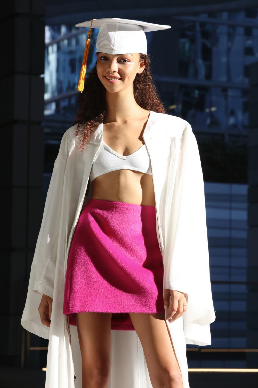 pink skirt, mini skirt, white bra, crop top, torso, white coat