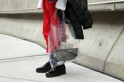 red sweatpants, Celine bag, transparent, black bomber jacket